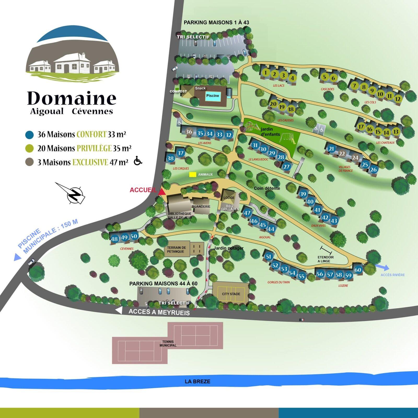 Plan du Domaine Aigoual Cévennes en Lozère